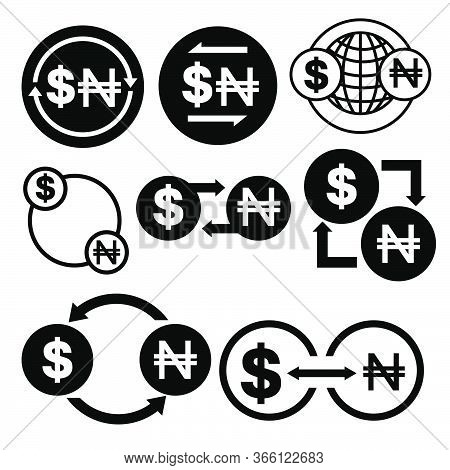 Black And White Money Convert Icon From Dollar To Naira Vector Bundle Set