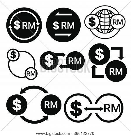 Black And White Money Convert Icon From Dollar To Ringgit Vector Bundle Set