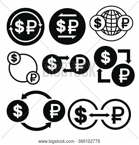 Black And White Money Convert Icon From Dollar To Ruble Vector Bundle Set