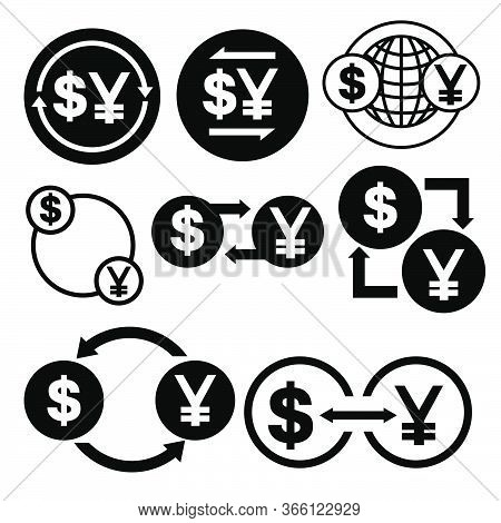 Black And White Money Convert Icon From Dollar To Yen Vector Bundle Set