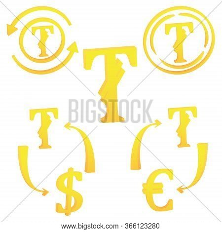 3d Tugrik Mongolia Currency Symbol Set Of Icon Vector Illustration On A White Background