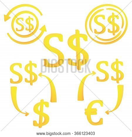 3d Singapore Dollar Currency Symbol. Set Of Icon Vector Illustration On A White Background