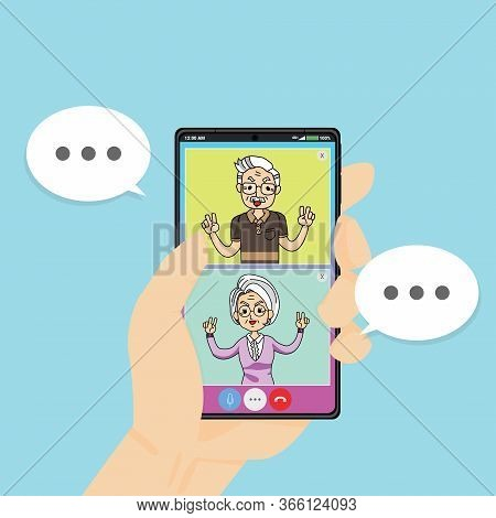 Using Smart Phone Video Call With Old Aged Family Couple Man & Woman. Elderly Peoples Staying At Hom