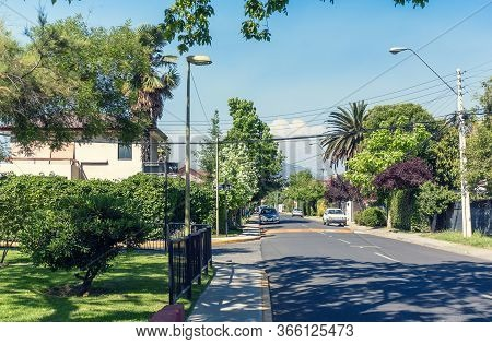 Typical Street In Las Condes Commune In Santiago, Chile