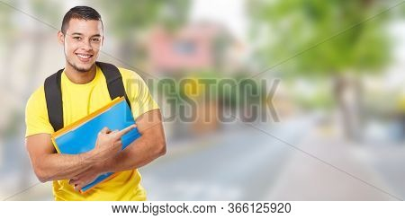 Student Education Showing Pointing Town Banner Copyspace Copy Space Marketing Ad Advert Young Man Pe