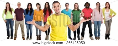 Group Of Friends Young People Social Media Latin Latino Isolated On White