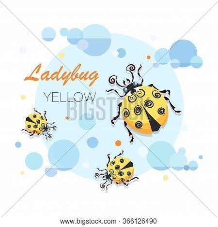 Ladybug, Ladybird. Vector Cartoon Character. Emblem. Cute Yellow Ladybugs On A Background Of The Sky
