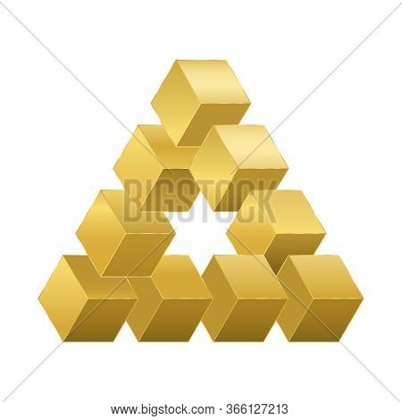 Optical Illusion, Impossible Figure With Golden Cubes. Reutersvard Illusion. Isolated Vector Illustr