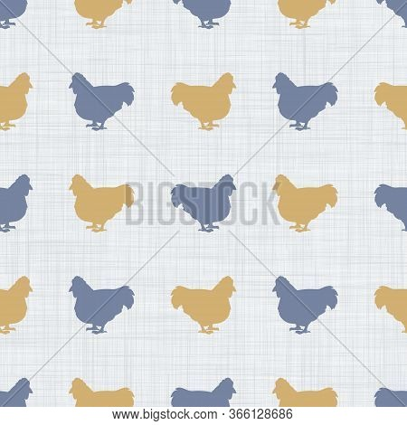 Seamless French Farmhouse Hen And Silhouette Pattern. Farmhouse Linen Shabby Chic Style. Hand Drawn