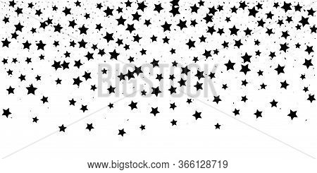 Black Glitter Confetti Stars On A White Background. Illustration Of Stars And Drops Of Shiny Particl