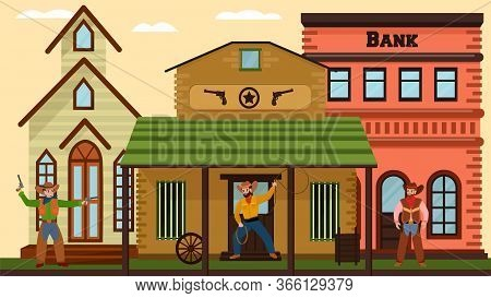 Cowboys Duel Near Bank, City In Wild West In American Style, Old Village Houses, Salon, Design Carto