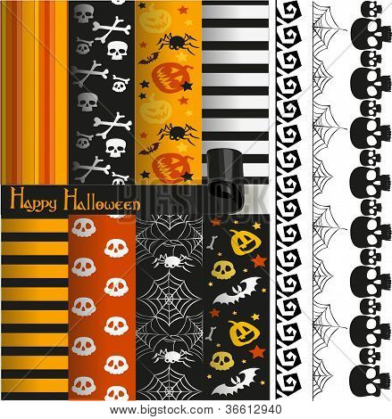 Happy Halloween vector paper and lace for scrapbook