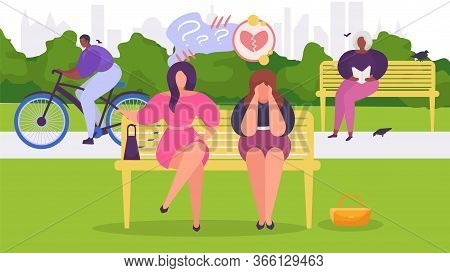 Woman In Depression In Park Sits On Bench, Is Frustrated By Unhappiness And Problems, Design, Cartoo