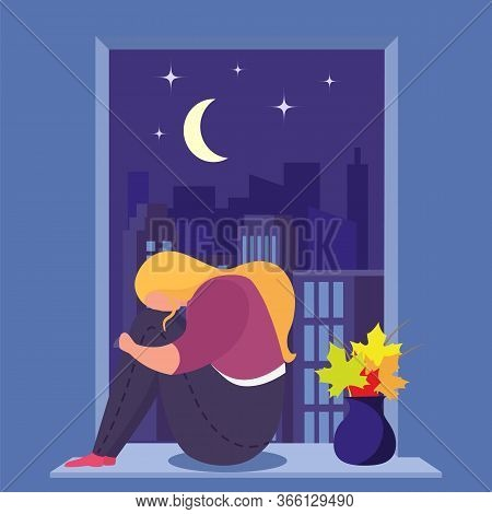 Girl In Depression Sits Near Window In Room, Young, Sad Woman Alone And Anxious, Design, Cartoon Sty