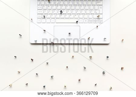 People Walking On Computer Keyboard In Concept To Show Online Marketplace For Business