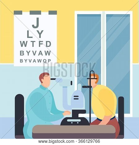 Check Vision Optometrist, Medical Center, Clinic Eye Verification By Doctor Ophthalmologist, Cartoon