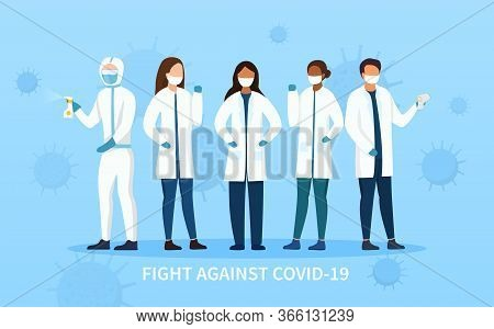 Frontline People In The Fight Against Covid-19 Showing Assorted Health Workers And A Cleaner With Sa