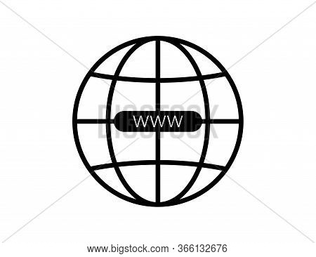 Black Earth Or Globe Icon With Www. Planet Illustration With Network Symbol. World Wide Web Symbol I