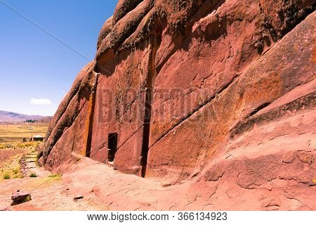 Astral Door Of Hayu Marca Located In Puno Peru, Old Reddish Rock Two