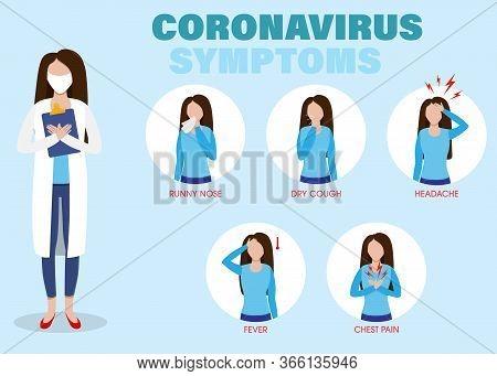 Symptoms Infographics Covid-19. Coronavirus Ncov Disease, Medicine Protection And Symptoms Infection
