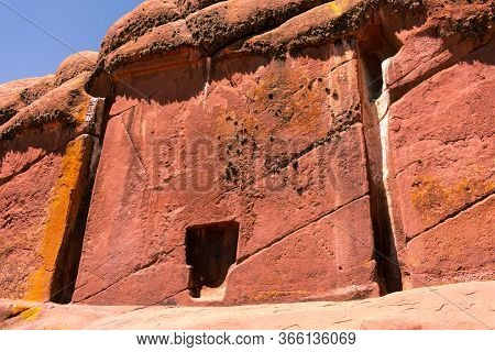 Astral Door Of Hayu Marca Located In Puno Peru, Old Reddish Rock One