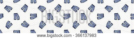 Hand Drawn Cute Bed Blue Time Pajama Pants Seamless Vector Border. Adorable Sleeping Clothes With Pl