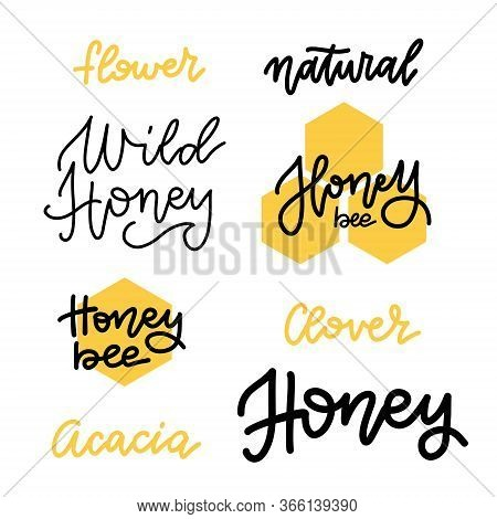 Set Of Honey Lettering Badges And Calligraphy Design Elements. Natural, Flower, Clover Or Acacia Hon