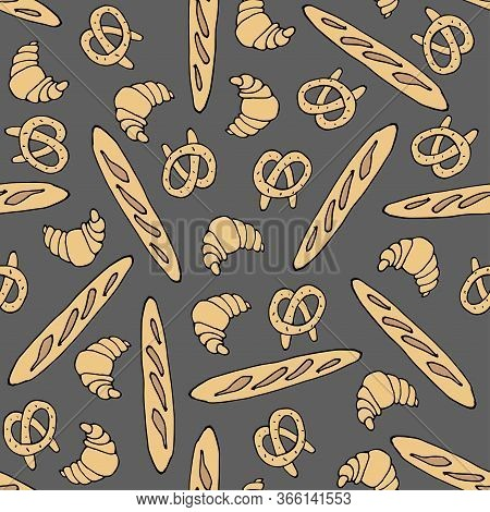 Pretzel, Croissant, Bread Baguette Background. Seamless Pattern. Vector Sketch Illustration. Hand Dr