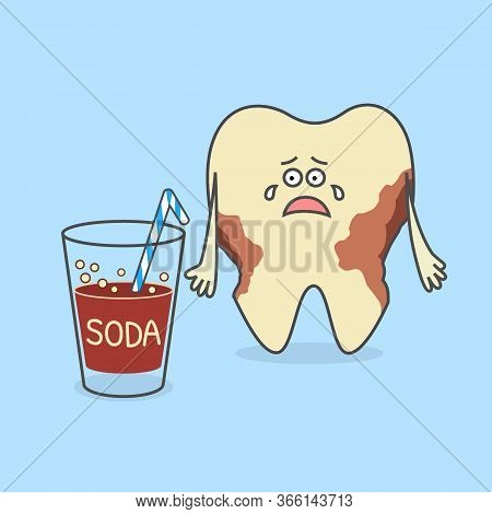Cartoon Tooth With A Glass Of Soda And With Decay Or Caries. Dental Illustration. Teeth Discoloratio