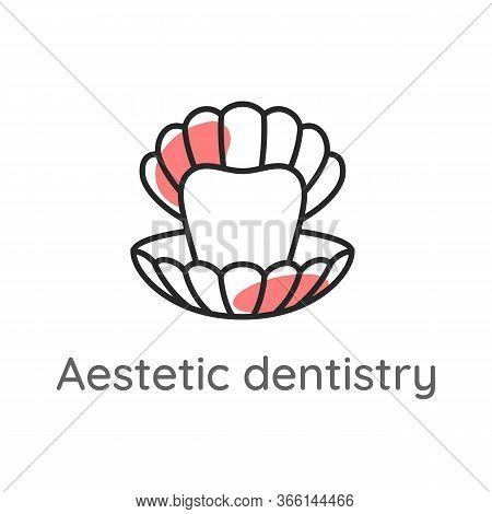 Aesthetic Dentistry. Tooth Or Veneer Inside The Pearl Shell. Dental Icon. Web Pictogram For Dentistr