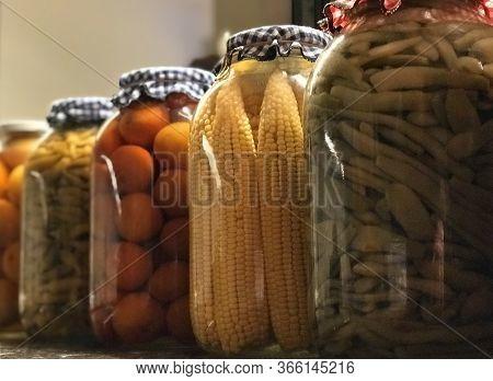Jars Of Pickled Marinated Salted Vegetables Preserves