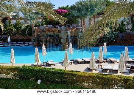 Sharm El Sheikh, Egypt -  November 28: The Swimming Pool At Luxury Hotel And Tourists Are On Vacatio