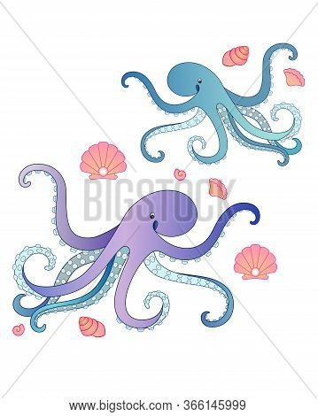 Two Funny Octopus Surrounded By Pink Shells - Vector Full Color Picture. Octopuses - Small Blue And