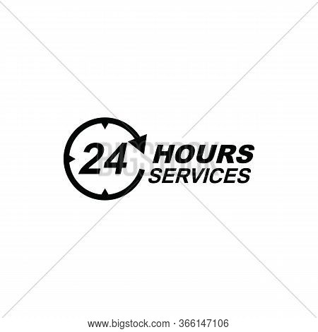 24 Hours Online Vector Icon, 24h Support Icon, Non Stop Working Shop Or Service Symbol, 24h Flat Ico