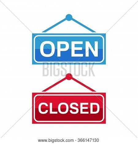 Open And Closed Icon, Hanging Rectangular Door Sign With Text Open And Closed In Green, Red, Black A