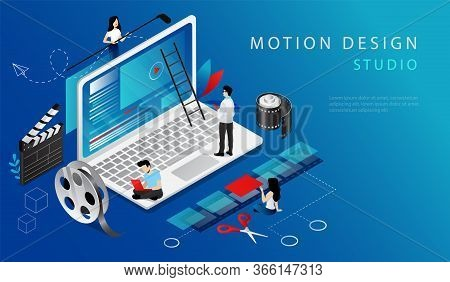 Isometric Concept Of Video Edit. Website Landing Page. Professional Creative Workers Men And Women S