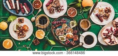 Turkish Traditional Lokum Sweet Delight With Turkish Coffee