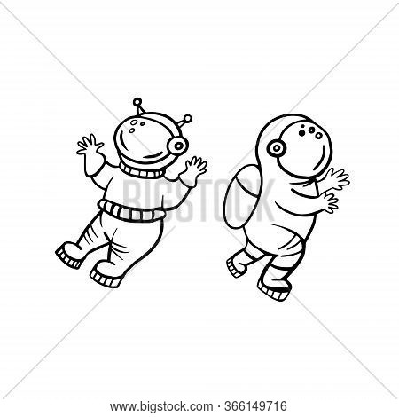 Astronauts. Vector Illustration Of Astronauts With Doodle Style. Set Of Astronauts Drawings.