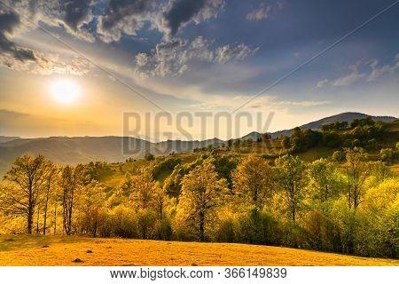 Beautiful Sunset Over Rural Landscape. Transilvania, Romania
