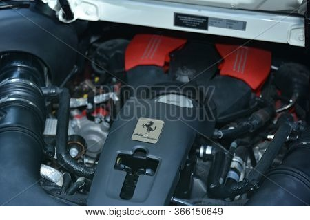Taguig, Ph - July 13 - Ferrari Supercar Motor Engine On July 13, 2019 In Bonifacio Global City, Tagu