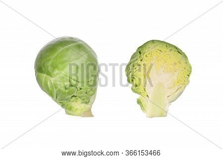 Studio Shot Of Brussel Sprout Isolated. Brassica Oleracea. Group Of Small Green Brussel Cabbage Spro