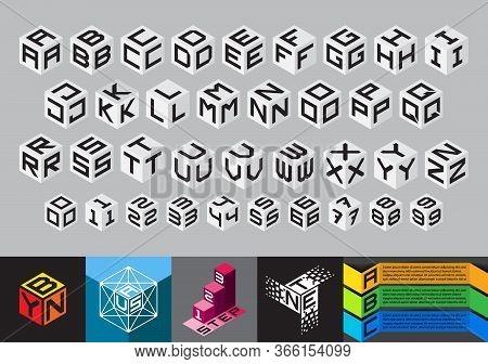 Cubic Font. Block Alphabet. Cube Monograms. Geometric Isometric Info-graphic Vector.