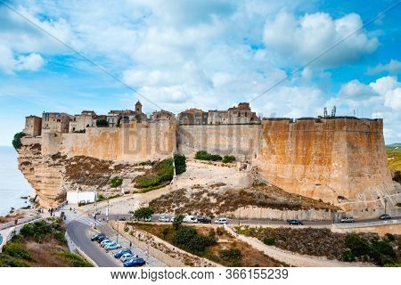 BONIFACIO, FRANCE - SEPTEMBER 19, 2018: A view of the Haute Ville, the old town of Bonifacio, in Corsica, France, built on the top of a promontory next to a cliff over the Mediterranean sea
