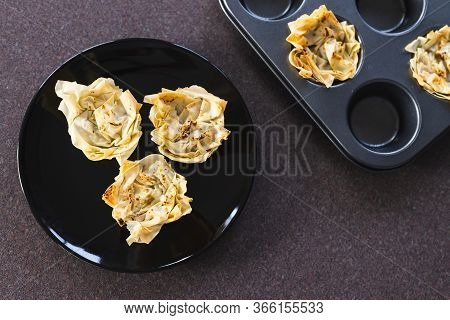 Plant-based Food, Filo Pastry Cups With Vegan Filling Just Out Of The Oven