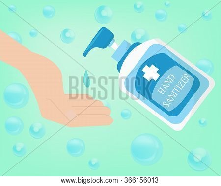 Hand Sanitizer Bottle,vector Alcohol Bottle For Hygiene. Sanitation Concept Banner