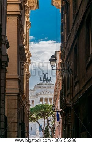 ROME, ITALY - January 17, 2019: The Vittorio Emanuele II Monument in Rome, ITALY