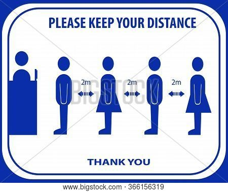Please Keep Your Distance, Cashier Sign And Sticker Vector Illustration.social Distancing And Infect