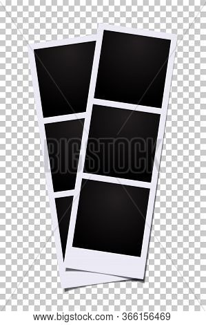 Triple Photo Vector Template. Three Blank Frames Photo Booth Images Isolated On Transparent Backgrou