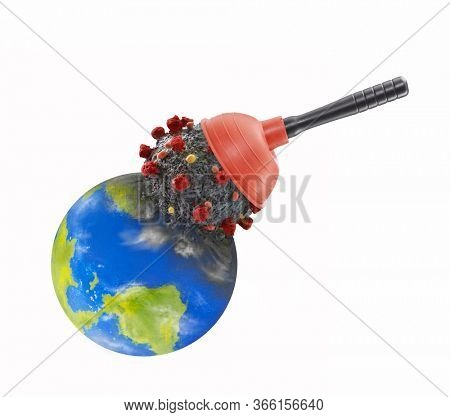 Using toilet plunger to remove the Coronavirus from planet earth