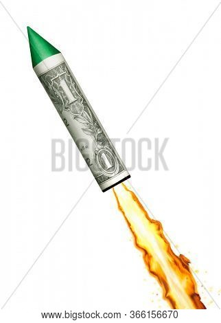 Launching the dollar economy on dollar bill rocket after the economic crisis.Launch US economy.